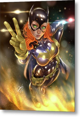 Batgirl Metal Print by Pete Tapang