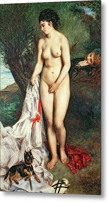 Bather With A Griffon Dog Metal Print by Pierrre Auguste Renoir