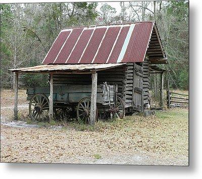 Battered Barn And Weathered Wagon Metal Print by Al Powell Photography USA