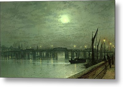 Battersea Bridge By Moonlight Metal Print