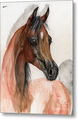 Bay Arabian Horse Watercolor Portrait Metal Print by Angel  Tarantella