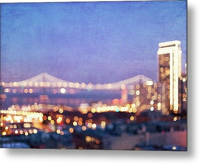 Bay Bridge Glow Metal Print by Melanie Alexandra Price