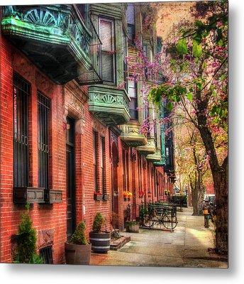 Bay Village Brownstones And Cherry Blossoms - Boston Metal Print by Joann Vitali