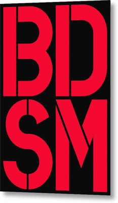 Bdsm Black And Red Metal Print by Three Dots