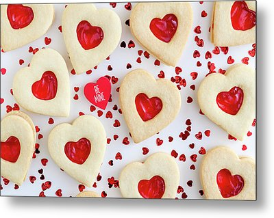 Metal Print featuring the photograph Be Mine Heart Cookies by Teri Virbickis