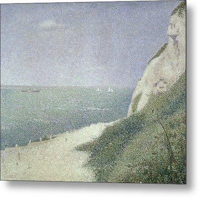 Beach At Bas Butin Metal Print by Georges Pierre Seurat