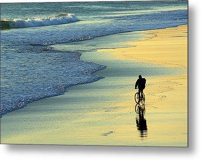 Beach Biker Metal Print by Carlos Caetano