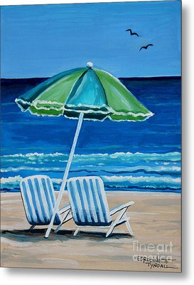 Beach Chair Bliss Metal Print