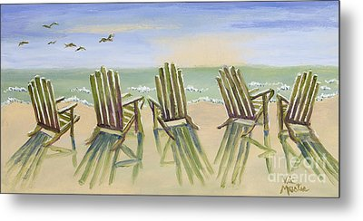 Beach Chairs Relaxing Metal Print by Vic  Mastis