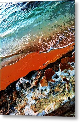 Beach Collage Metal Print by Erika Swartzkopf