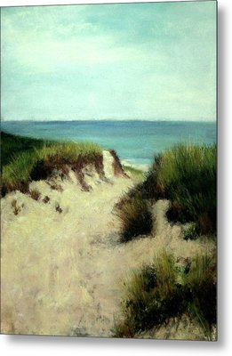 Metal Print featuring the painting Beach Dunes by Cindy Plutnicki