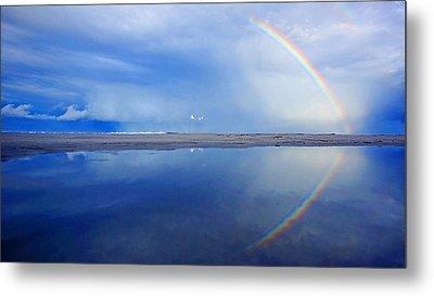 Beach Rainbow Reflection Metal Print