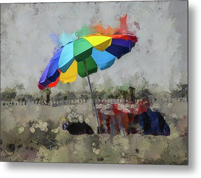 Metal Print featuring the mixed media Beach Ready by Trish Tritz