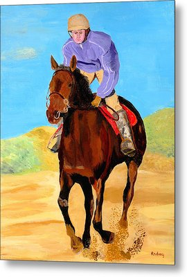 Metal Print featuring the painting Beach Rider by Rodney Campbell