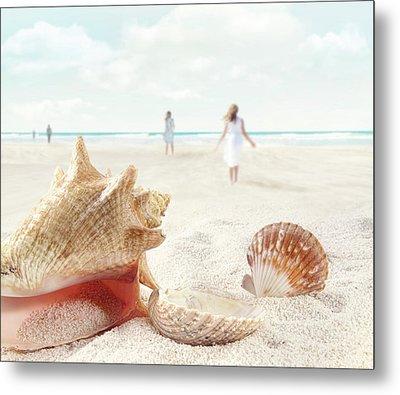 Beach Scene With People Walking And Seashells Metal Print by Sandra Cunningham