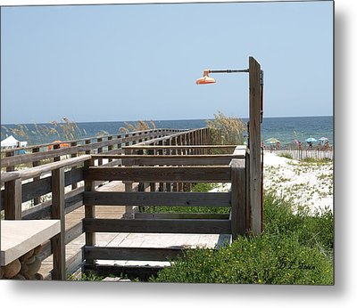 Beach Shower Metal Print by Dennis Stein