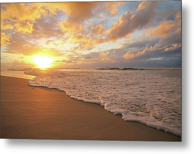 Beach Sunset With Golden Clouds Metal Print