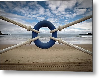 Beach Through Lifeguard Tied With Ropes Metal Print by Carlos Ramos