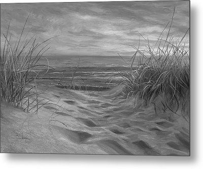 Beach Time Serenade - Black And White Metal Print