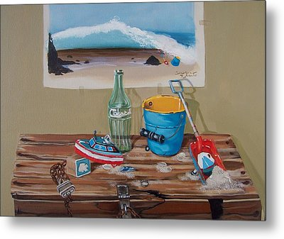 Metal Print featuring the painting Beach Toys by Susan Roberts
