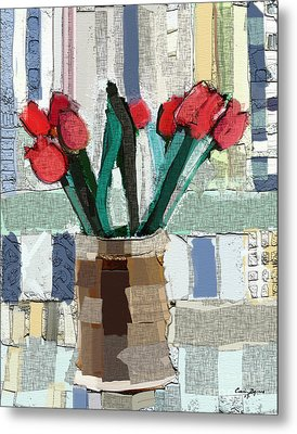 Metal Print featuring the painting Beach Tulips by Carrie Joy Byrnes