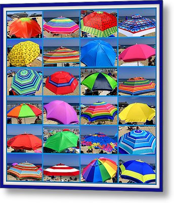 Beach Umbrella Medley Metal Print by Mitchell R Grosky