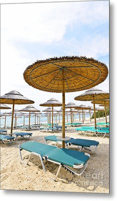 Beach Umbrellas And Chairs On Sandy Seashore Metal Print