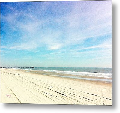 Beach With Pier Metal Print