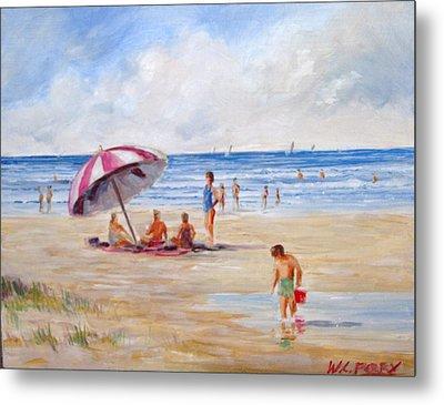 Beach With Umbrella Metal Print