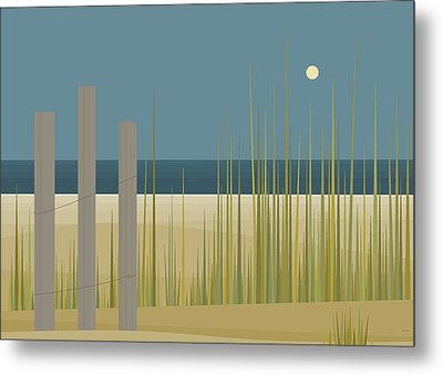Beaches - Fence Metal Print by Val Arie