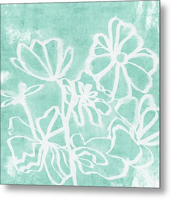 Beachglass And White Flowers 2- Art By Linda Woods Metal Print