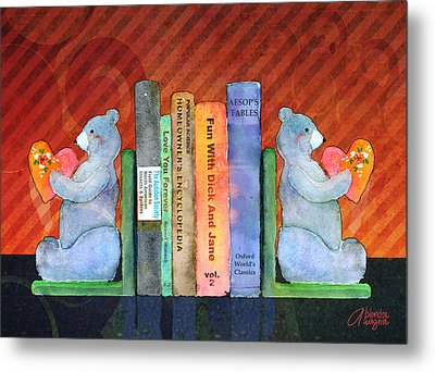 Bear Bookends Metal Print by Arline Wagner