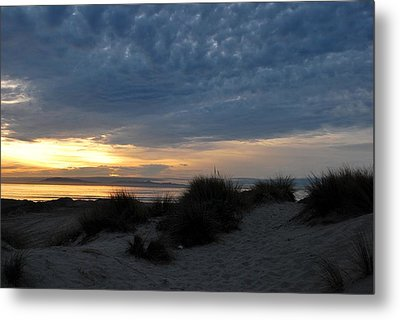 Beautiful Beach San Dunes Sunset And Clouds Metal Print