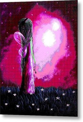 Beautiful Pink Angel Fairy By Shawna Erback Metal Print by Shawna Erback