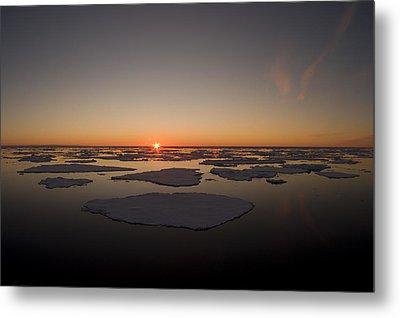Beautiful Sunset Over An Arctic Ice Metal Print