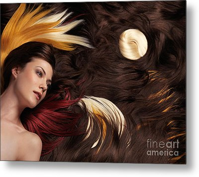 Beautiful Woman With Colorful Hair Extensions Metal Print by Oleksiy Maksymenko