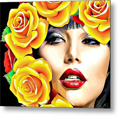 Beautiful Woman Yellow Roses Pop Art Metal Print