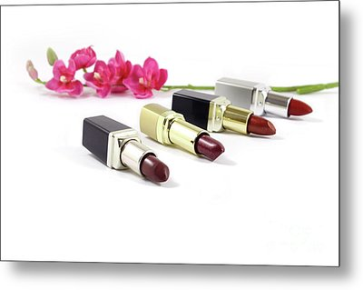 Beauty And Esthetics Care. Lipsticks And Flowers Metal Print