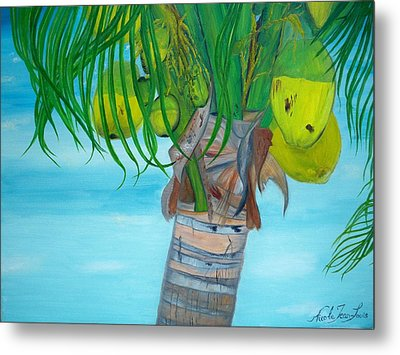 Metal Print featuring the painting Beauty Of A Coconut Palm Tree by Nicole Jean-louis