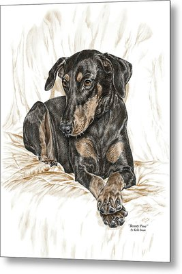 Metal Print featuring the drawing Beauty Pose - Doberman Pinscher Dog With Natural Ears by Kelli Swan