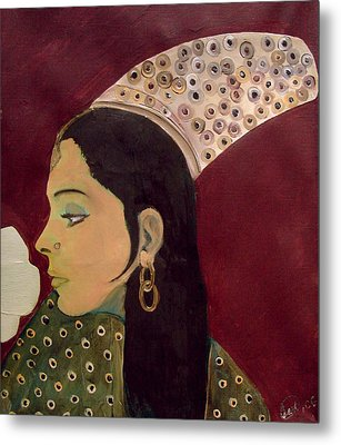 Metal Print featuring the mixed media Beauty Queen Of The Mughals by Saad Hasnain
