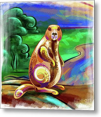 Beaver Pose Metal Print by Bedros Awak