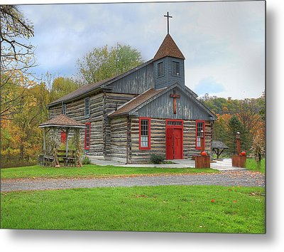 Metal Print featuring the digital art Bedford Village Church by Sharon Batdorf