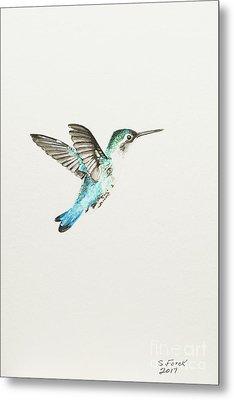 Bee Hummingbird Metal Print