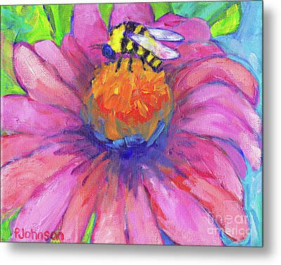 Bee On Coneflower By Peggy Johnson Metal Print by Peggy Johnson
