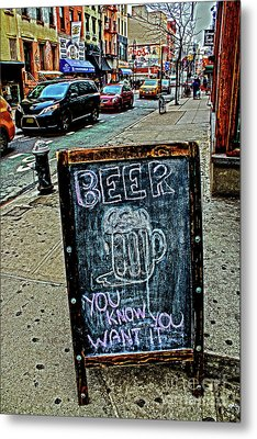 Beer Sign Metal Print