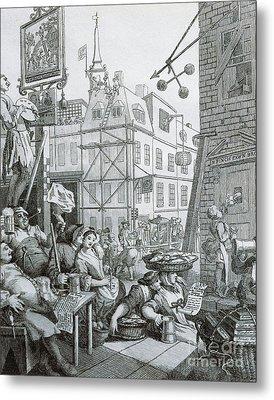 Beer Street In London Metal Print by William Hogarth