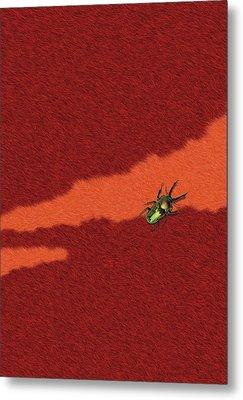 Beetle On Red Fur Metal Print