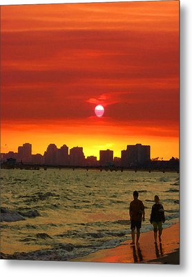 Belmont Shore Sunset Metal Print by Timothy Bulone