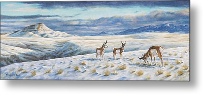 Metal Print featuring the painting Belt Butte Winter by Kim Lockman